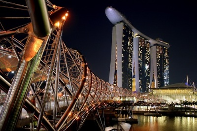 Helix Bridge, Marina Bay Sands Singapore, Night