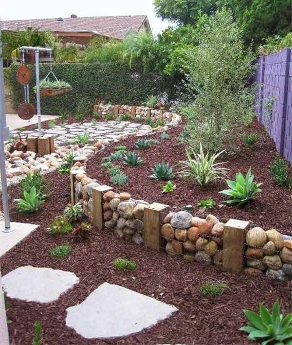10 Ideas Fabulosas Para Decorar Tu Jardin Con Piedras De Colores - Jardin-con-piedras